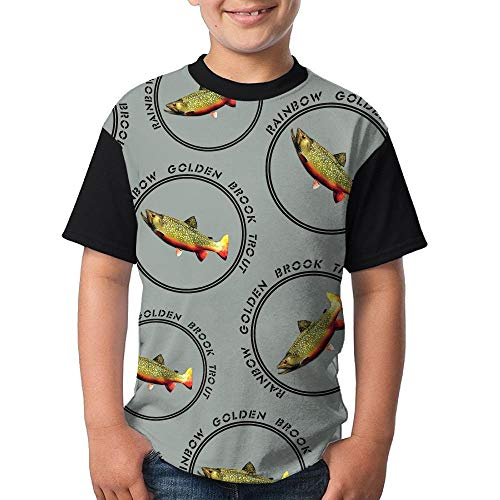 Rainbow-Golden-Brook-Trout Boy Youth 3D Printing Fashion Round Neck T Shirts Funny Short-Sleeve T-Shirts