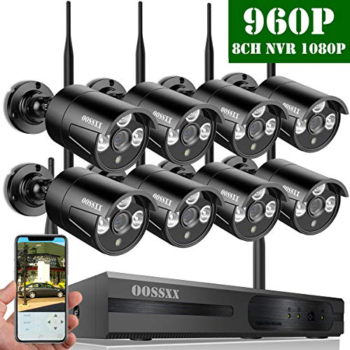 Wireless Network Dvr - 【2018 Update】OOSSXX 8-Channel HD 1080P Wireless Network/IP Security Camera System(IP Wireless WiFi NVR Kits),8Pcs 960P 1.3 Megapixel Wireless Indoor/Outdoor IR Bullet IP Cameras,P2P,App,No HDD