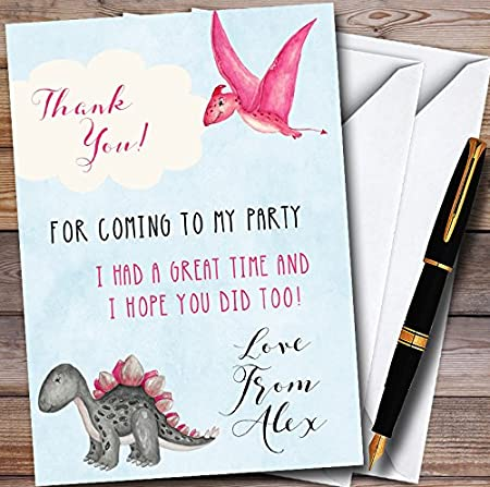 Girls Pink Watercolour Dinosaur Personalized Childrens Birthday Party Thank You Cards