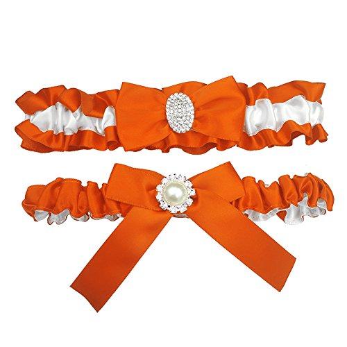 (Kirmoo Bridal Garter Belt Set Royal Blue and White Wedding Keepsake Toss Garters (Orange and White) )