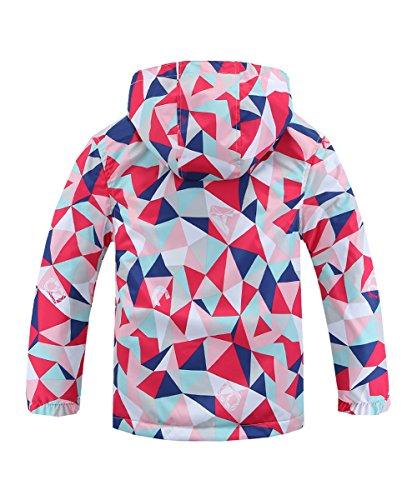 Hiheart Girls Waterproof Fleece Lined Jacket Hood Windproof Rain Coat Pink 9/10 by Hiheart (Image #2)
