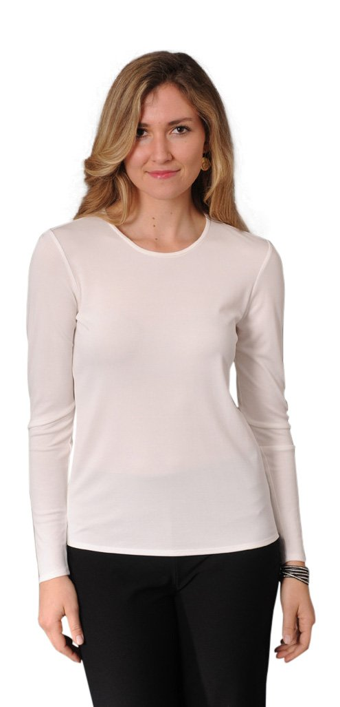 Eileen Fisher Stretch Silk Jersey Long Sleeve Crew Neck Top (XL, Softwhite)