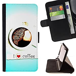 For Samsung ALPHA G850 Design I Love Coffee Style PU Leather Case Wallet Flip Stand Flap Closure Cover