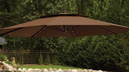 11 Foot Round Solar Cantilever Umbrella With 360 186 Rotation