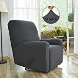 Easy-Going Stretch Recliner Slipcovers,Sofa Covers,4Pieces Furniture Protector Elastic Bottom,Straps,Couch Shield Pocket,Polyester Spandex Jacquard Fabric Small Checks (Recliner,Dark Gray)