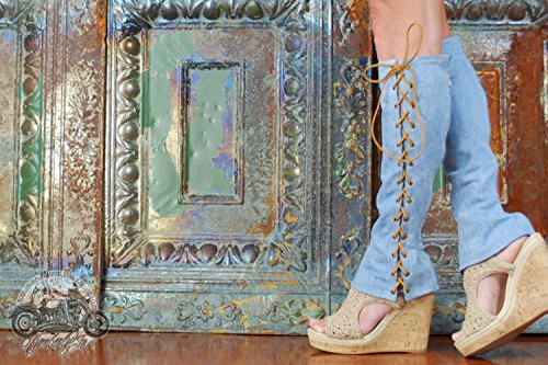 Knee High Lace Up Denim Boots by Kymberly Jo