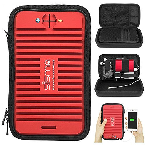 Sisma Travel Organizer Universal Carrying Case for Small Electronics and Accessories, Red ()