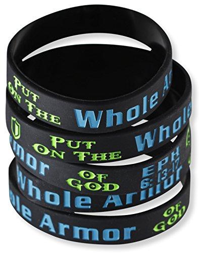 Gods Armor Jewelry - Put on the Whole Armor of God Ephesians 6:13-17 Silicone Bracelet Wristbands (10 Bracelets)
