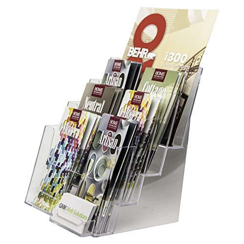 Organizer Pocket 8 Desktop Letter (Clear-Ad - LHF-P84 - Plastic Rack Card Literature - Acrylic 4 Tier 8 Pocket Brochure Organizer - Desktop or Wall Mount Leaflet Rack - Tabletop Pamphlet Stand 8.5x11w/ Business Card Pocket (Pack of 1))