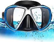 Snorkel Diving Mask, Panoramic HD Scuba Snorkel Mask, Anti-Fog Swim mask, Tempered Glasses Snorkel Goggles, Sc