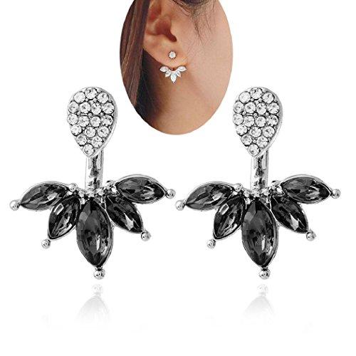Lady Clear Crystal Leaf Feather Ear Jacket Earrings Back Ear Cuffs Stud Earrings for Women SUNSCSC