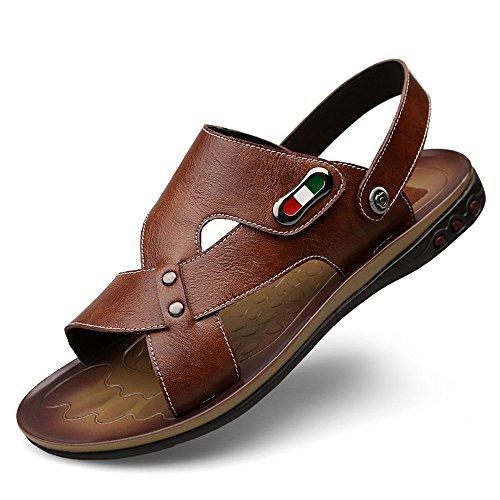 46 in vera Color da Blu BINODA Cross uomo pelle Marrone Sandali EU spiaggia Criss Pantofole posteriori regolabili Sandali da Dimensione antiscivolo wZqwSXIU
