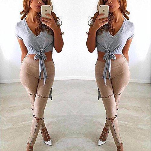 Longwu femminile stretto benda scamosciato tempo libero a matita pantaloni Amarillo