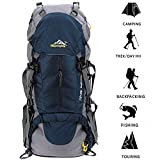 Loowoko 50L Internal Frame Hiking Backpack Travel Backpack for Sport Climbing Camping Mountaineering Cycling Skiing with Rain Cover(Dark blue)
