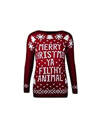 Xmas Women Jumpers Ya Filthy Animal Ladies Sweater Christmas Novelty Pullover