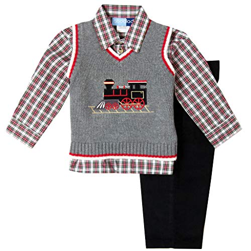 Good Lad 2/7 Boys Holiday Train Appliqued Sweater Vest Set (7)