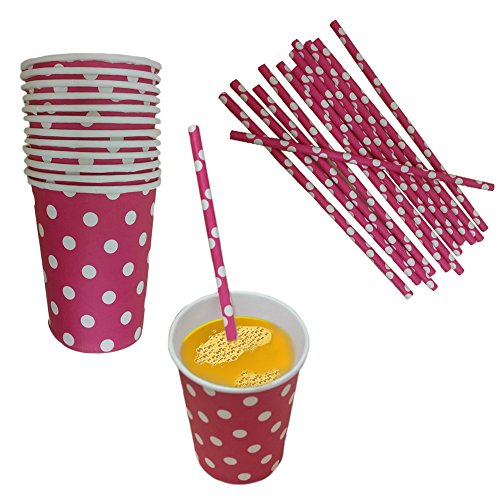 Pink And White Polka Dot Paper Cup And Straw Set- Pack Of 24- Includes 12 Polka Dot Cups And 12 Polka Dot Straws. Great for Parties, Birthdays, Holidays And Much -