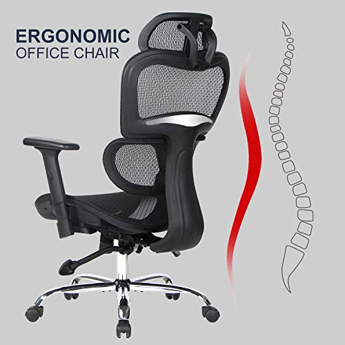 Smugdesk Ergonomic Office Chair High Back Mesh Chairs with Lumbar Support, Adjustable Headrest and 3D Armrest Executive Swivel Chair Black