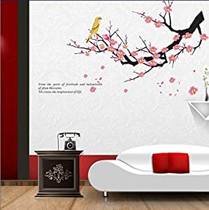 Dfunlife The plum blossom birds wall stickers PVC waterproof removable stylish design wall decals