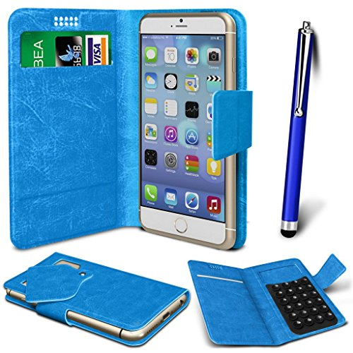 N4U Online® - Apple iPhone 5s PU aspiration étui en cuir Wallet Pad Cover & High Sensitive Stylus Pen - Bleu
