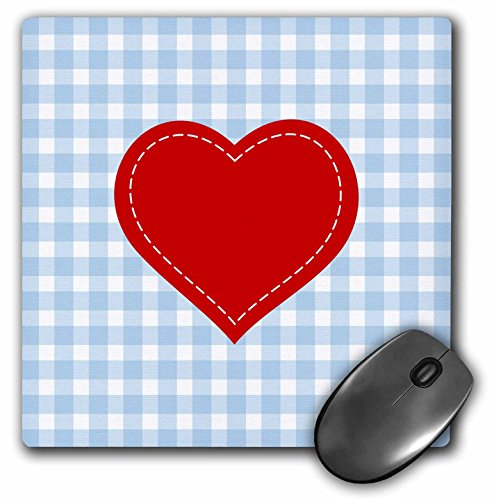 Red Heart with White Stitch detail over Blue Gingham - Mouse Pad, 8 by 8 inches (mp_219291_1)