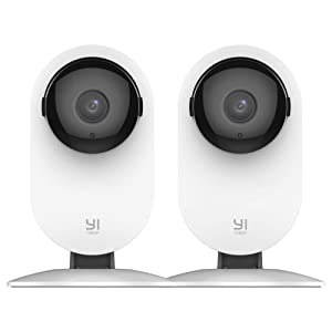 YI 2pc Home Camera, 1080p Wireless IP Security Surveillance System with Free Motion Alerts, Night Vision, Baby Monitor on iOS, Android App - Cloud Service Available