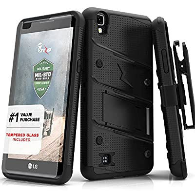LG X Power Case, Zizo [Bolt Series] with FREE [LG X Power Screen Protector] Kickstand [Military Grade Drop Tested] Holster Belt Clip - LG X Power K210 by Zizo®