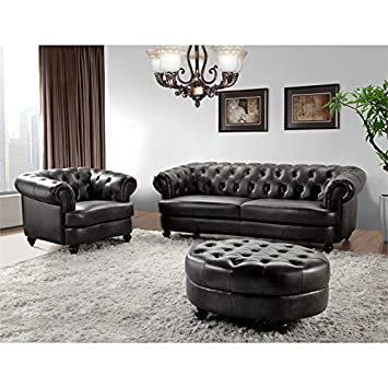 Remarkable Amazon Com Abbyson Living Empire Tufted Top Grain Leather 3 Bralicious Painted Fabric Chair Ideas Braliciousco