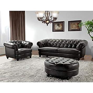 Stupendous Amazon Com Abbyson Living Empire Tufted Top Grain Leather 3 Theyellowbook Wood Chair Design Ideas Theyellowbookinfo