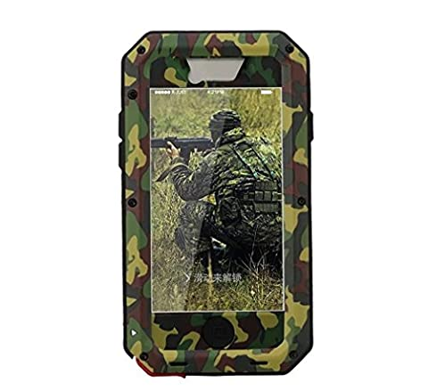 R&MAO-iPhone 5C Aluminum Metal [Camouflage Army],[Military Heavy Duty]Camo Case,Waterproof/Shockproof Dust/Snow Proof Gorilla Glass Protection Cover Case for iPhone 5C (Aluminum Metal Iphone 5c Case)
