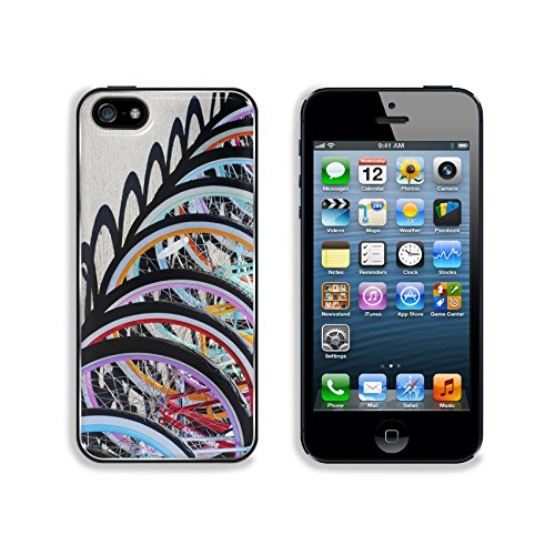 Liili Premium Apple iPhone 5 iphone 5S Aluminum Backplate Bumper Snap Case IMAGE ID 24053883 Colorful bike wheel parked to make a pattern
