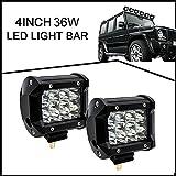 Vakabva LED Light Bar 2PCS 36W 4Inch 6000K Waterproof LED Light Bar for Truck Roof Light Bar for Off-road Car ATV SUV Jeep Truck LED Light Bar