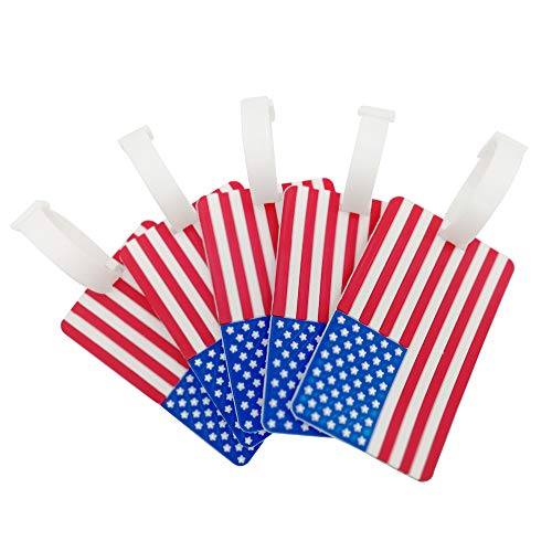 5 Pcs Travel Luggage Tags Travel Accessory American Flag Pattern Suitcases Tags ()