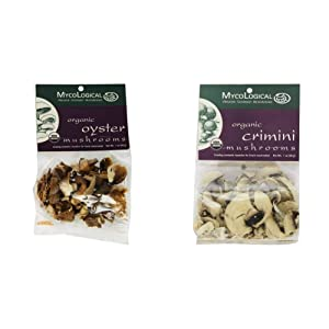Mycological Dried Organic Oyster Mushrooms, 1 Ounce Package & Dried Organic Crimini Mushrooms, 1 Ounce Package