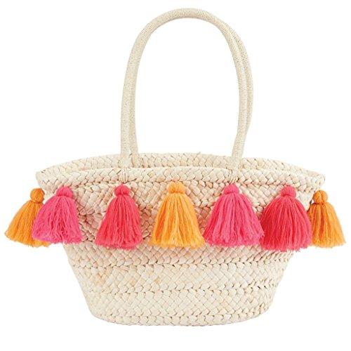 Mud Pie Women's Fashion Tassel Straw Tote (Pink)