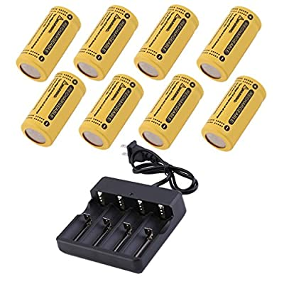 8 Rechargeable Battery 2800mAh CR123A 123A CR123 16340 Plus Charger