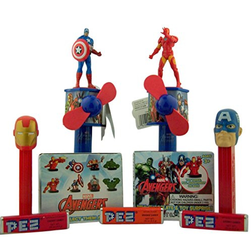 Marvel Set PEZ Candy Dispensers with Superhero Fans and Surprise Toy Boxes