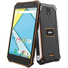 """Plum Gator 4 - Rugged Smart Cell Phone Unlocked Android 4G GSM 13 MP Camera 5"""" HD Display IP68 Military Grade Water Shock Proof 5000 mAh - Black/Org"""
