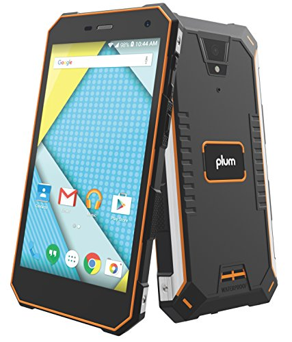 Plum Gator 4 - Rugged Smart Cell Phone Unlocked Android 4G GSM 13 MP Camera 5'' HD Display IP68 Military Grade Water Shock Proof 5000 mAh - Black/Org by Plum