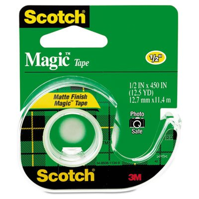 Magic Tape w/Refillable Dispenser, 1/2'' x 450'', Clear, Sold as 1 Roll (450' Magic)