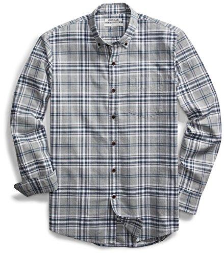 Amazon Brand - Goodthreads Men's Slim-Fit Long-Sleeve Plaid Oxford Shirt, Medium Grey Heather, X-Large ()