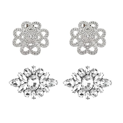 Rantanto Crystal Metal Shoes Clips Accessory Shoes Decoration Charms Pack (SDA0002) (Clip Shoes)