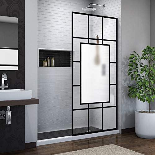 DreamLine French Linea Avignon 34 in. W x 72 in. H Single Panel Frameless Shower Door, Open Entry Design in Satin Black, SHDR-3234721-86