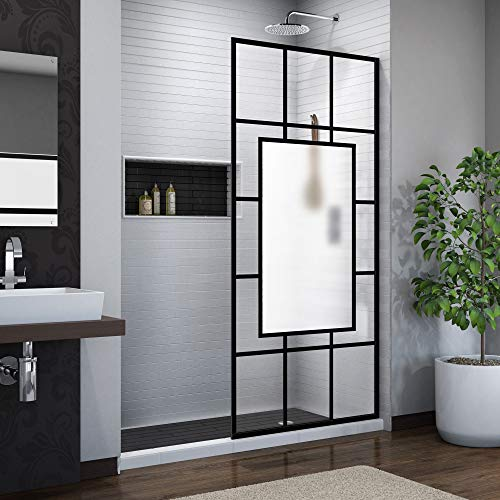 DreamLine French Linea Avignon 34 in. W x 72 in. H Single Panel Frameless Shower Door, Open Entry Design in Satin Black, SHDR-3234721-86