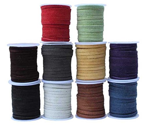 Genuine Flat Suede Leather Cord, Ten (10) Spool Set, 4.0 Millimeter