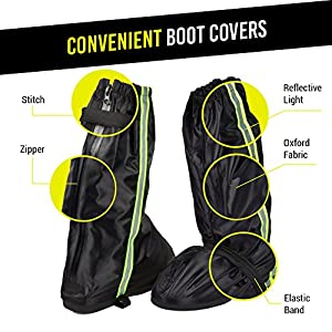 Anti-Slip Motorcycle Boot Rain Covers Shoes with Green Reflective Line size Men 8.5-9.5 Women 10-11 with Sturdy Zippered Elastic Bands for Outdoor Activities Hiking Camping Fishing Snowmobiling, Black