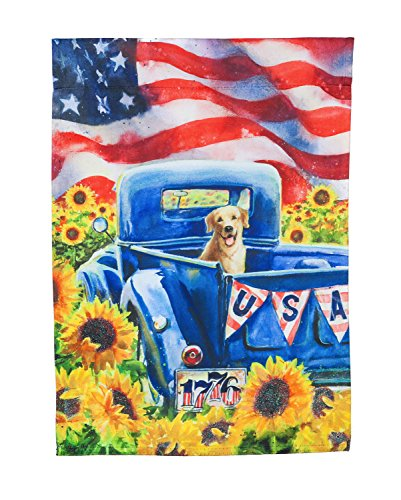 Evergreen Patriotic Truck and Dog Suede Garden Flag, 12.5 x