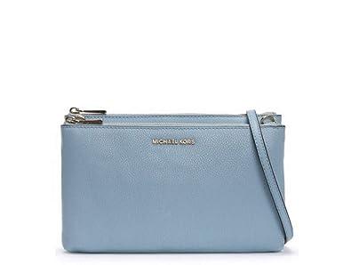 5181e64ea Michael Kors Adele Leather Double Zip Crossbody Bag - Pale Blue ...