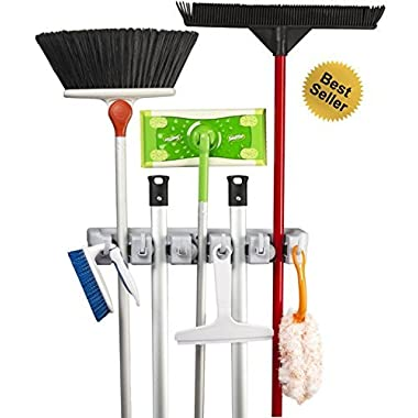 Best Broom Holder The Most Powerful Grippers Mop Broom Holder. 100% Secure Non-Slide & Sturdy Wall Mount Broom Mop Holder & Organizer. Effortless Installation (Screws Included)