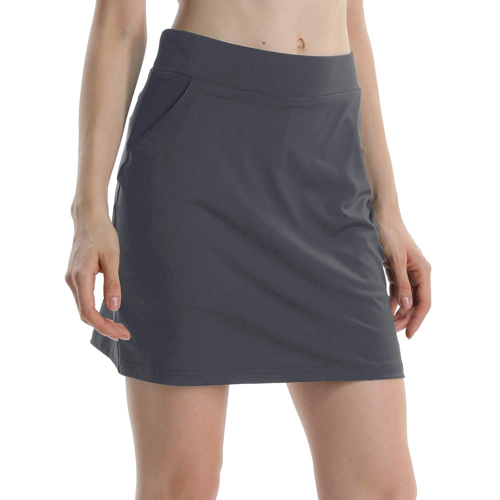 Women Anytime Active with Underneath Shorts Skorts Lightweight Quick Dry Workout with Pocket Skirt Gray Size XL by Gooket